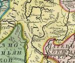Место на карте царства казанского с окольными провинциями 1745 года, где позднее появилась Старая Рудка